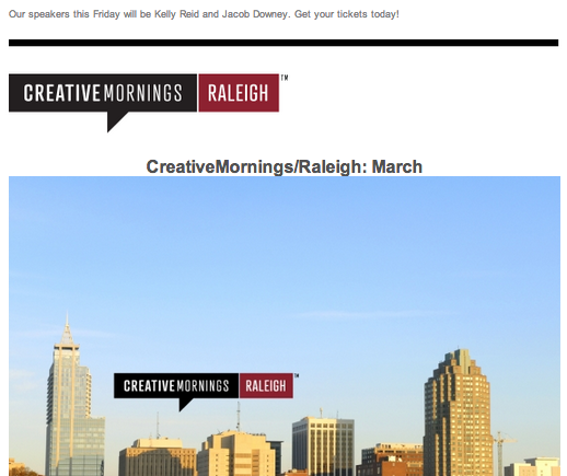 Screenshot of CreativeMornings Newsletter
