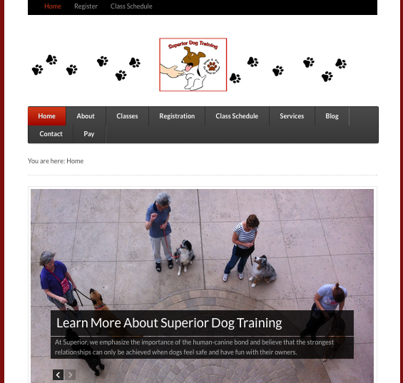 Screenshot of Superior Dog Training Website